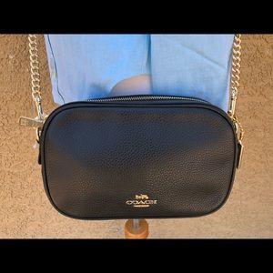Coach Pebble Leather Large Crossbody Bag BLACK